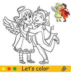 Halloween coloring with colored example angel vector