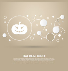 halloween pumpkin icon on a brown background with vector image