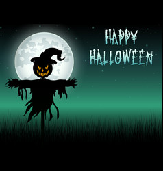 Halloween scary scarecrow at night background vector