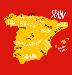 Hand drawn stylized map spain kingdom travel vector