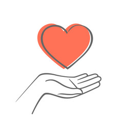 Hand giving love symbol hand draw icon vector