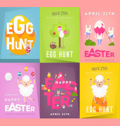 happy easter posters set vector image
