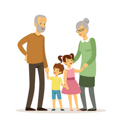 happy grandparents smiling elderly woman man vector image