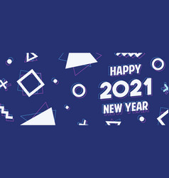 happy new year 2021 geometric holographic banner vector image