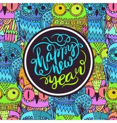 happy New Year Owls vector image