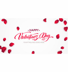happy valentine day calligraphy lettering on a vector image