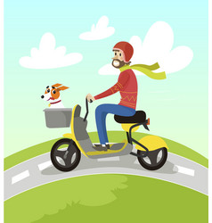 hipster man riding yellow scooter with his jack vector image