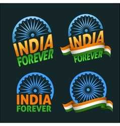 India forever four badges independence day on dark vector