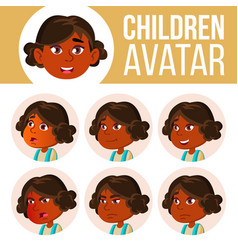 Indian girl avatar set kid kindergarten vector