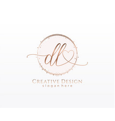 Initial dl handwriting logo with circle template vector