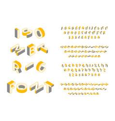 isometric font 3d geometric english alphabet vector image