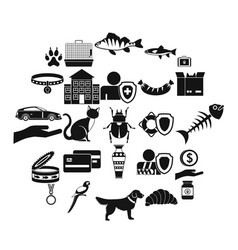Kitten icons set simple style vector