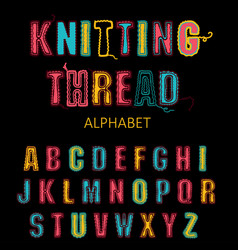 Knitting font fairisle thread abc embroidered vector