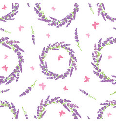 lavender wreaths and butterflies repeat pattern vector image