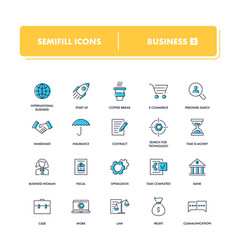 Line icons set business 2 vector