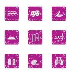listening icons set grunge style vector image