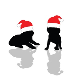 little cute dog with red Christmas hat vector image