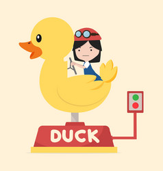 little girl riding yellow duck vector image