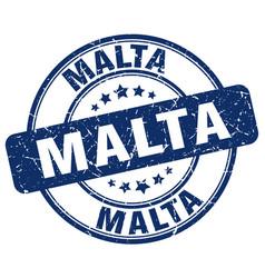 Malta blue grunge round vintage rubber stamp vector