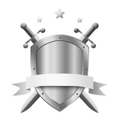 metal shield with two crossed knight swords vector image