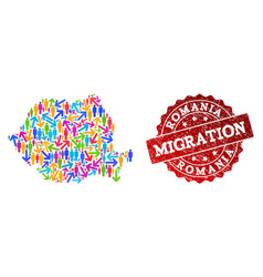 Migration collage of mosaic map of romania and vector