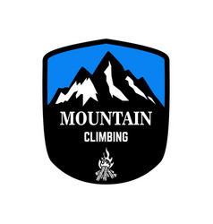 mountain climbing emblem template with mountain vector image