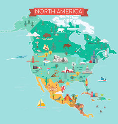 north america map tourist and travel landmarks vector image