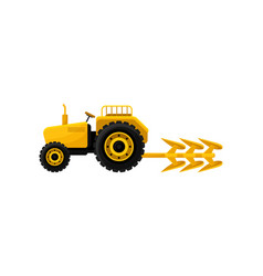 Open yellow tractor with plow industrial farm vector