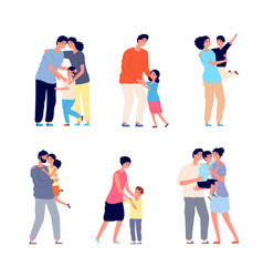 parents hugging child family embracing dad mom vector image