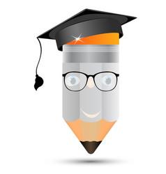 pencil in glasses the image of professors graduate vector image