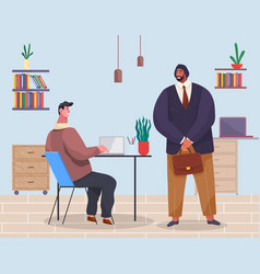 people in office man sits at computer man in vector image