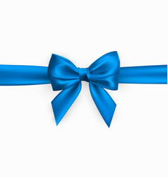 realistic blue bow element for decoration gifts vector image