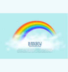 realistic rainbow and clouds background vector image