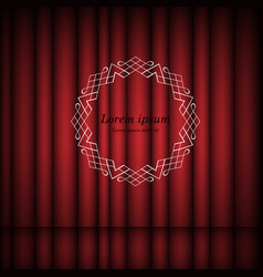 red curtains and vintage round frame with copy vector image