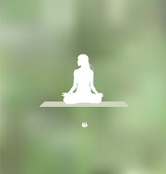 Relaxation pose Blurred green background vector image
