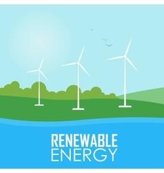 Renewable energy Wind generator turbines vector image