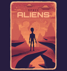 Retro poster with alien and ufo on red planet vector