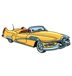 Retro yellow car classic abstract model vector