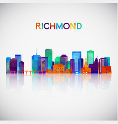 richmond skyline silhouette in colorful geometric vector image