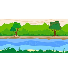 River side landscape background vector