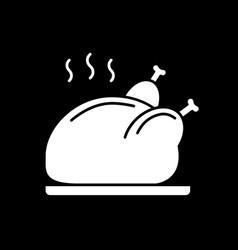 Roasted chicken dark mode glyph icon vector