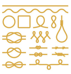 rope knots icons photo realistic set vector image