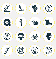 Safety icons set with explosive electrocution vector
