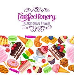 Seamless border with confectionery vector