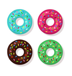 set of cartoon donuts isolated on white background vector image