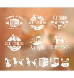 Set of pet care labels badges and design elements vector