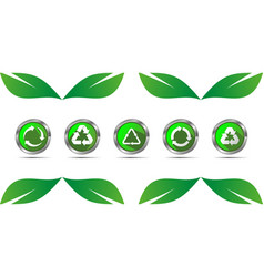 Set recycle icon button vector