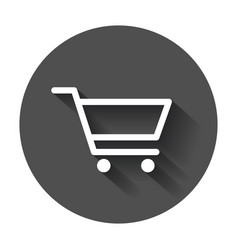 shopping cart icon flat on black round background vector image