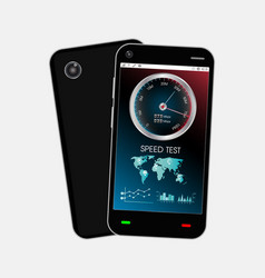 Smartphone with speed test interface vector