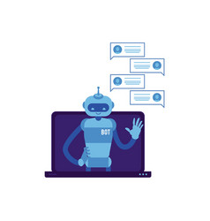 smiling chat bot waving hand laptop screen vector image